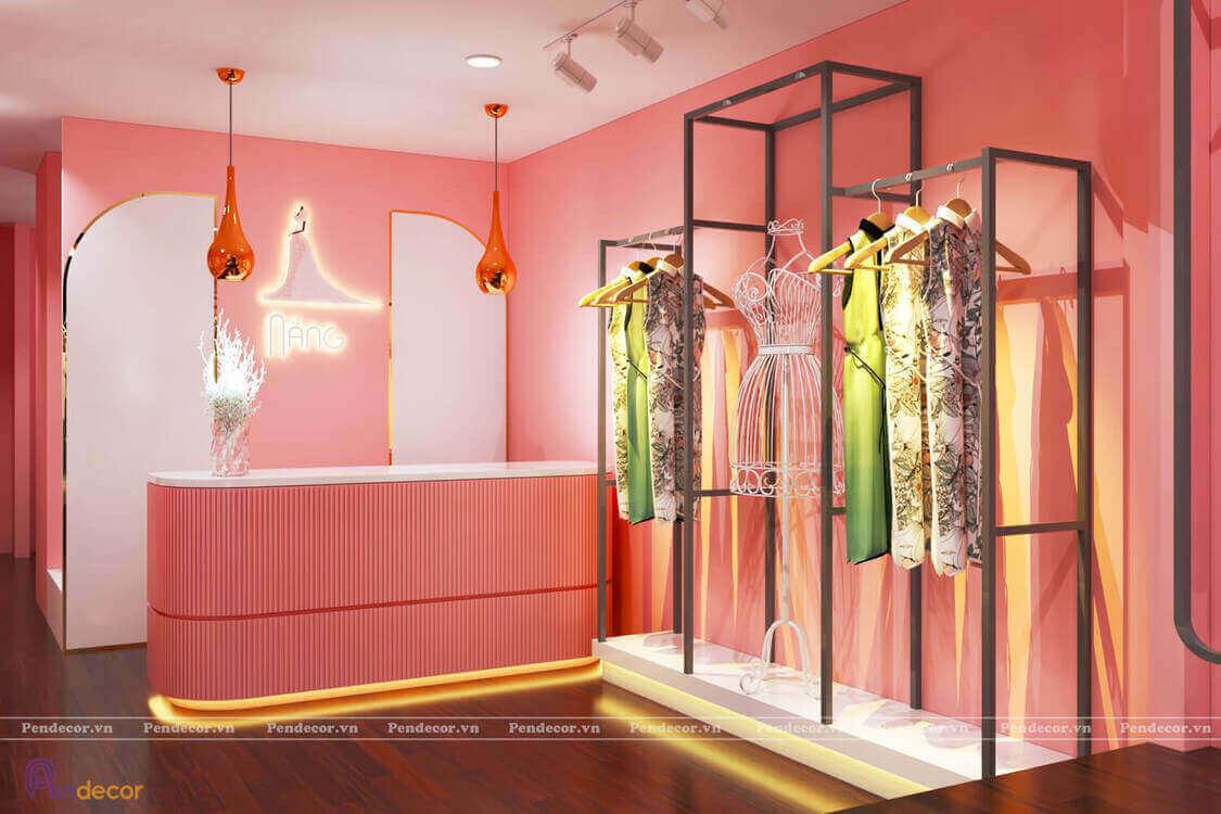 Shop thời trang nữ được thiết kế theo phong cách ngọt ngào